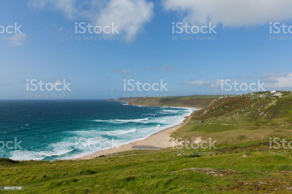 Sennen Cove Cornwall beach and coast near Land`s End tourist attraction stock photo
