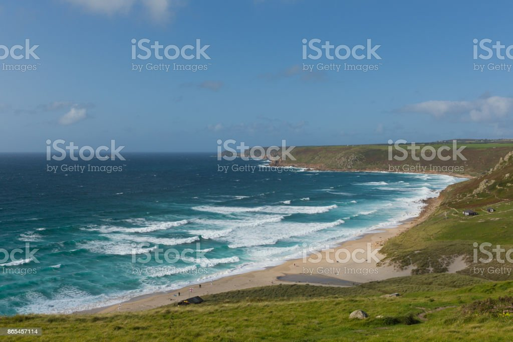 Sennen Cove Cornwall beach and coast near Land`s End tourist attraction the first village to the north stock photo