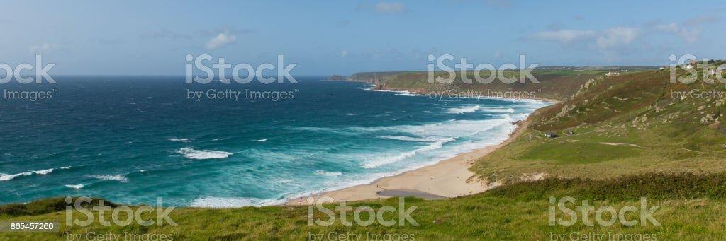Sennen Cove Cornwall uk near Land`s End panoramic view stock photo