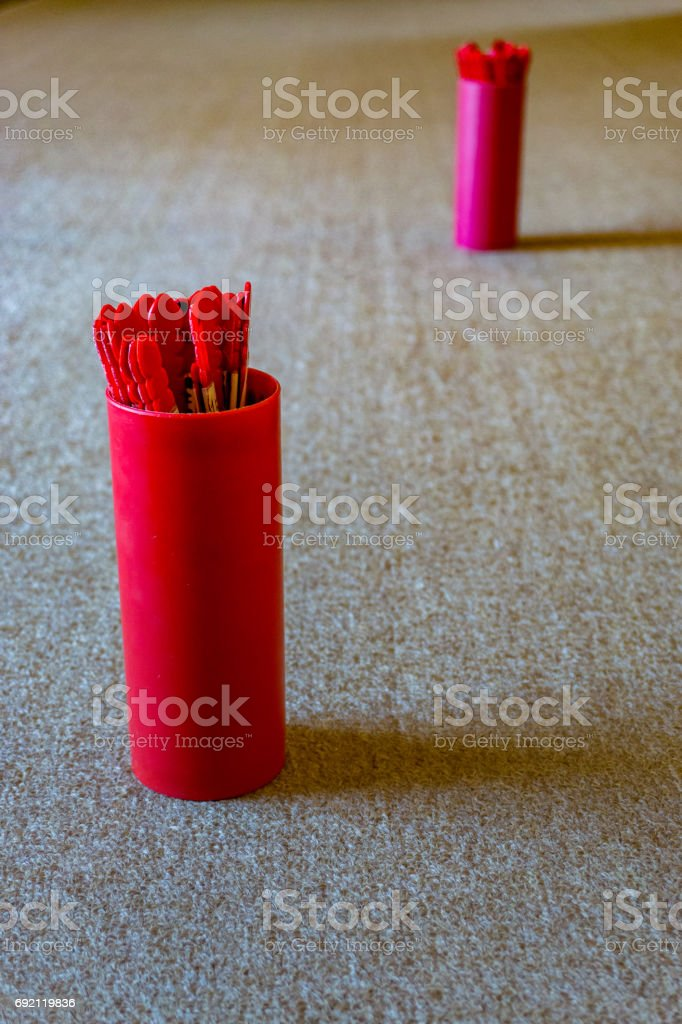 sense and horoscope with shakes and throws the wooden piece stock photo