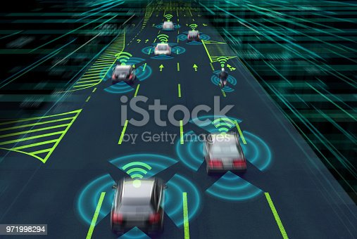 istock Sensing system and wireless communication network of vehicle. Autonomous car. Driverless car. Self driving vehicle. 971998294