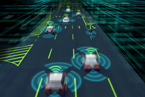 Sensing system and wireless communication network of vehicle. Autonomous car. Driverless car. Self driving vehicle. stock photo