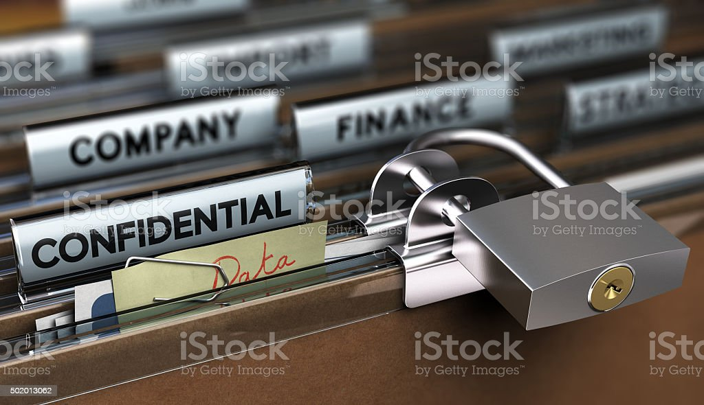 Sensitive Data Protection, Poor Security Concept of poor sensitive data protection, Folder secured with a simple padlock 2015 Stock Photo