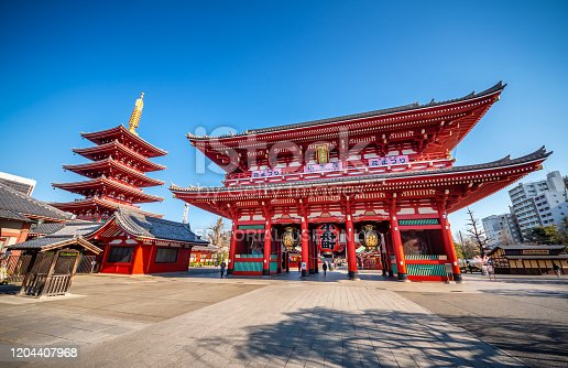 April 3, 2019 - Tokyo, Japan: Senso-ji Temple, the oldest temple located in Tokyo, and Nakamise-dori connecting the Kaminarimon entrance to the main hall, are constantly crowded with sightseers on a yearly basis. Since the area has always had a large number of temples since the Edo Period, it has been called Teramachi, which translates to 'City of Temples'