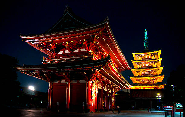 Sensoji temple at night in Tokyo, Japan. stock photo