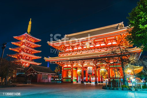 Sensoji Temple in Tokyo, Japan Tokyo, Japan - January 22 2019:Sensoji Temple at night in Asakusa Tokyo city Japan, Sensoji is the most famous and oldest  temple in Tokyo, Japan.