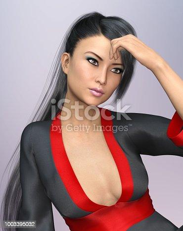 1137329370istockphoto Sensual Asian woman with ponytail hairstyle in kimono 1003395032