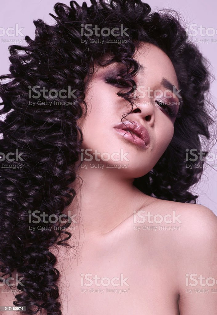 Sensual Beautiful Asian Girl With Curly Hair Style Royalty Free Stock Photo
