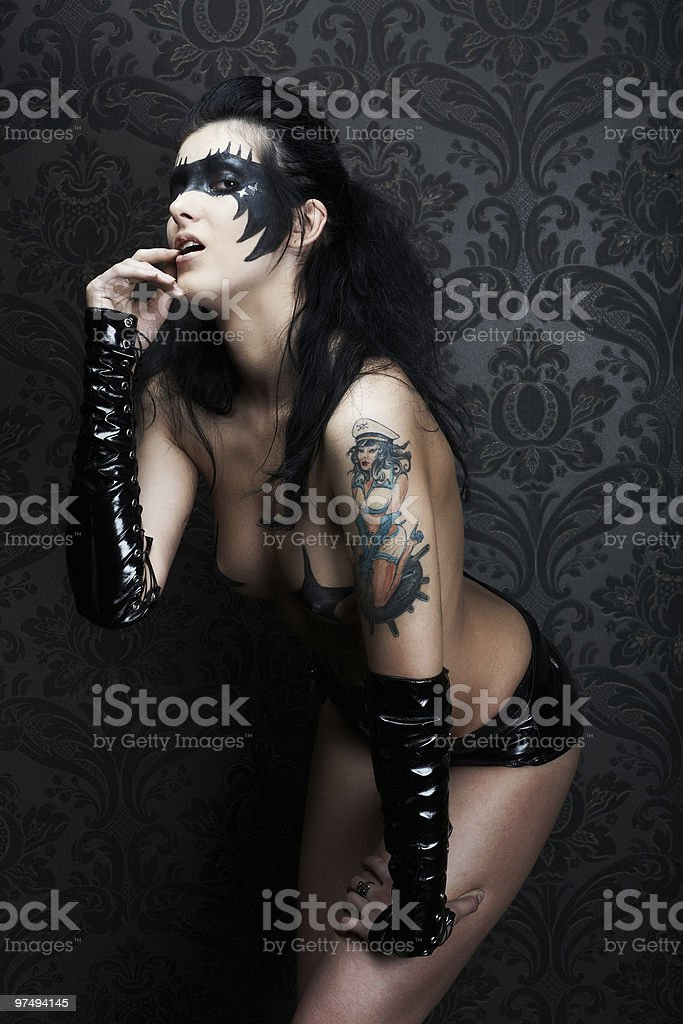 Sensual beautiful model with bodypainting royalty-free stock photo