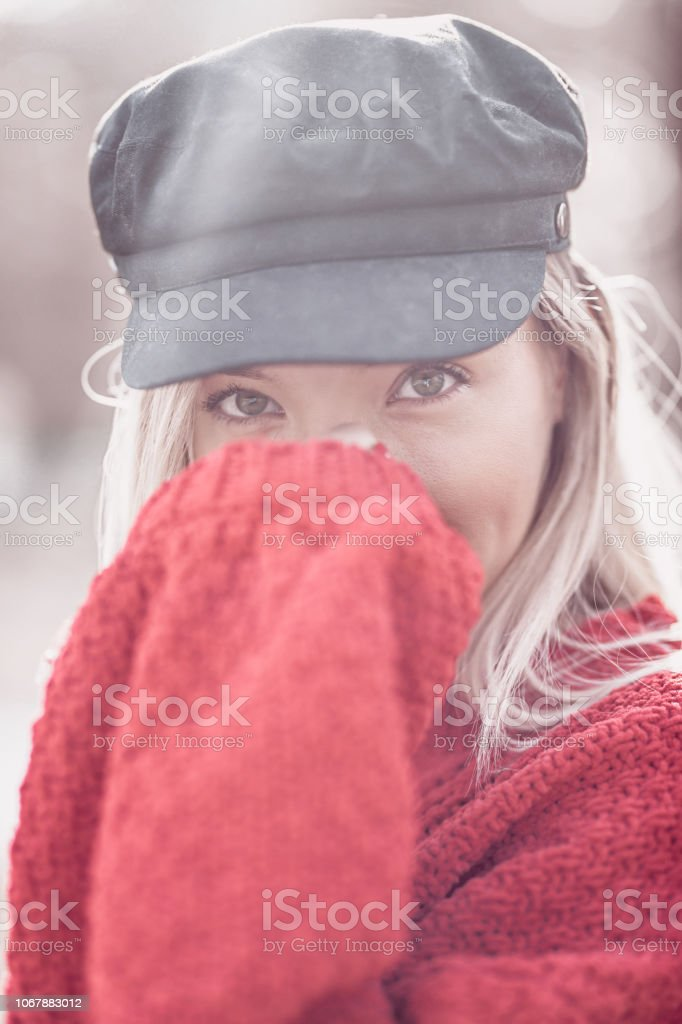 Sensual Blond In Red Sweater Posing On Autumn Morning stock photo