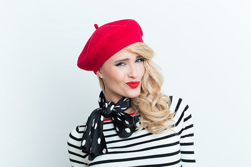 Sensual Blonde French Woman Wearing Red Beret Stock Photo - Download Image Now