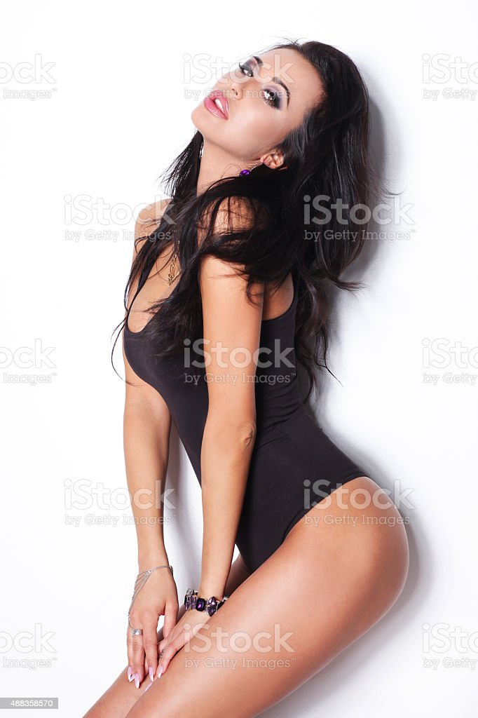 c3b2892b2d4 Sensual Brunette Woman Posing In Black Lingerie Stock Photo & More ...