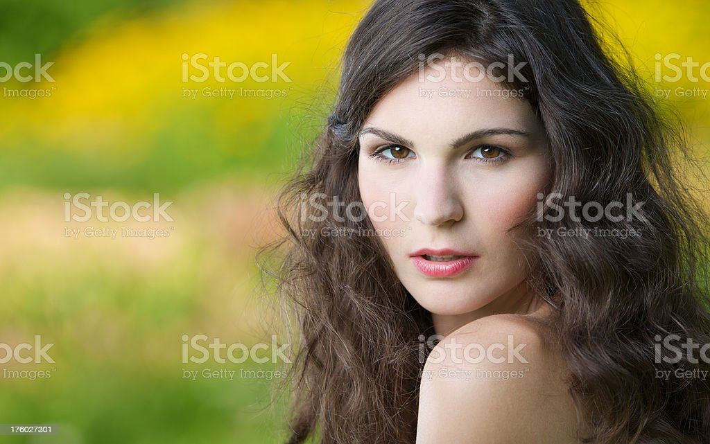 Sensual Candid Outdoor Portrait - Nude Make-up (XXXL) royalty-free stock photo