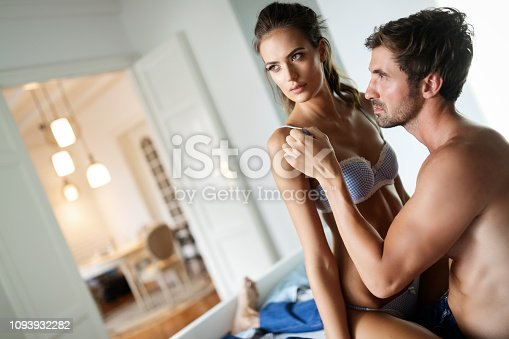 956369394 istock photo Sensual couple hug each other. Woman with glamorous face. 1093932282