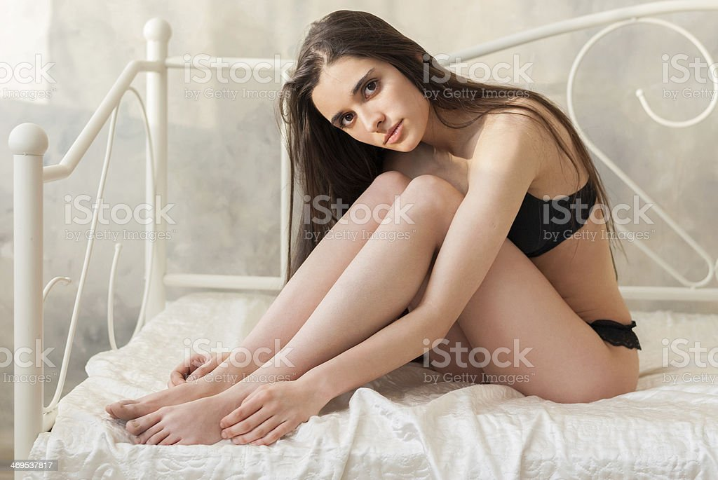 Sensual cute slim girl in lingerie stock photo