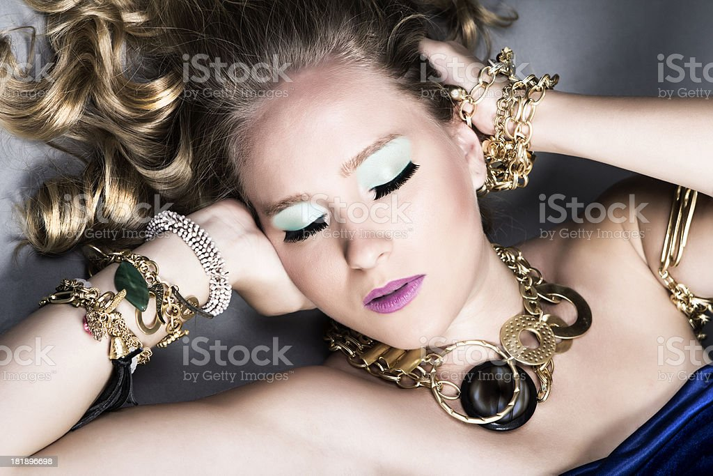 Sensual Fashion Model With Gold Jewelry stock photo
