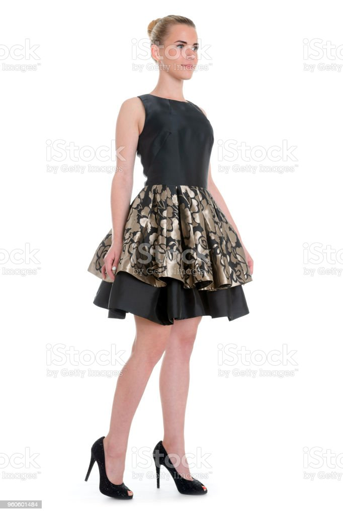 4948648b1c354b Sensuele mode portret van prachtige jongedame in partij jurk royalty free  stockfoto