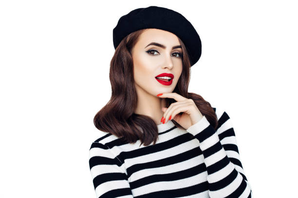 Sensual french woman wearing black beret stock photo