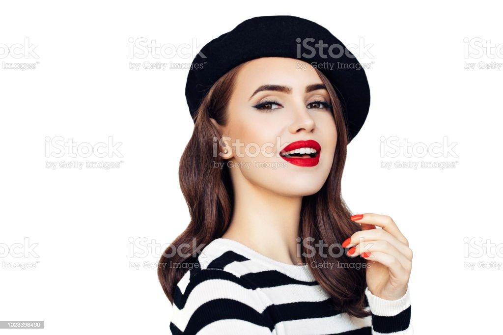 Sensual mujer francesa llevando boina negra foto de stock libre de derechos d78ce5ba430
