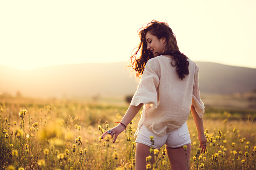 Sensual Girl In Yellow Field