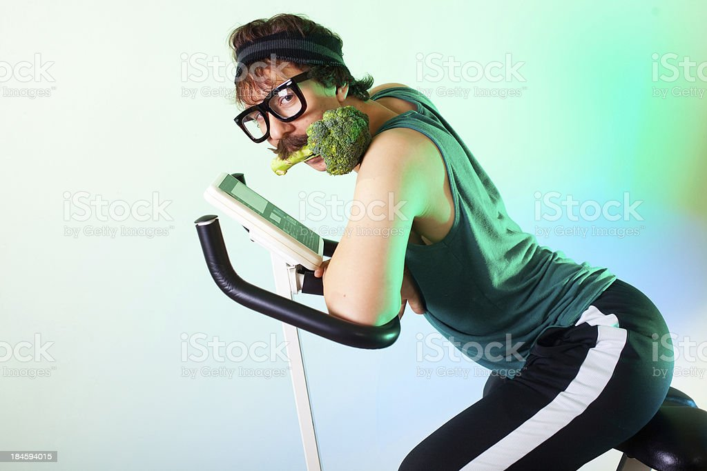 Sensual healthy eating exercising teenager with mustache royalty-free stock photo