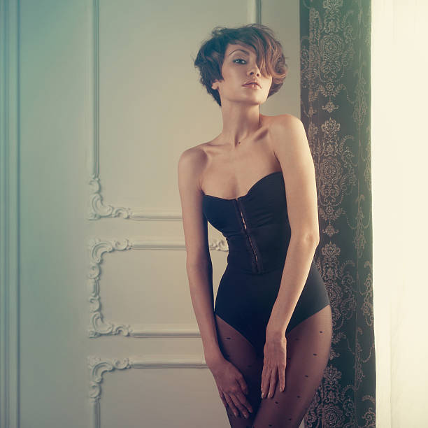 sensual lady in classical interior - leotard stock photos and pictures