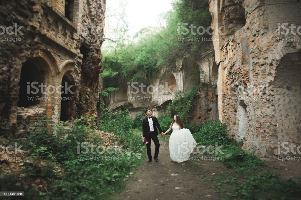 Sensual married couple, valentines hugging in front of old slavic castle stock photo