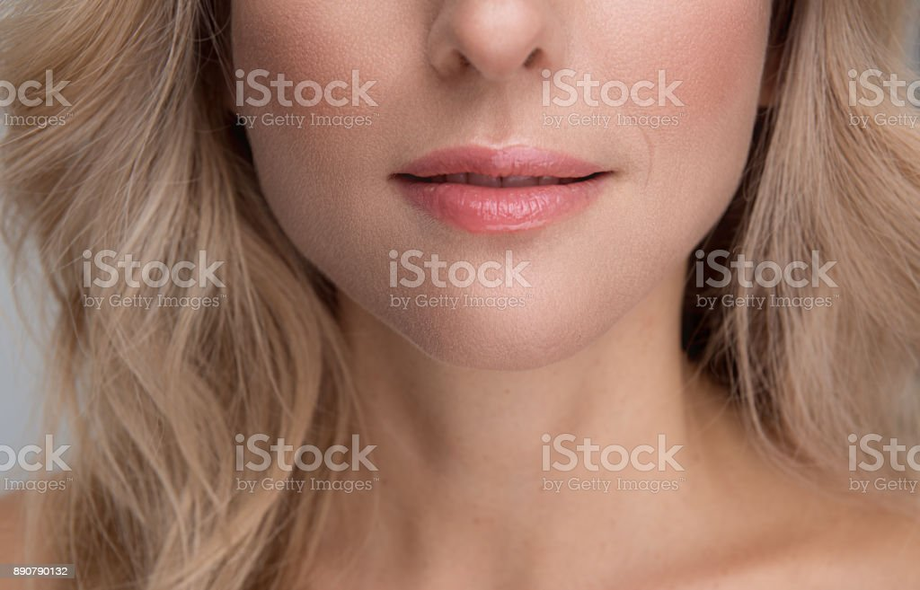 Sensual mouth of attractive elegant lady stock photo