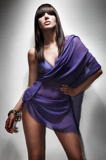 Sensual Woman In Purple Stock Photo - Download Image Now