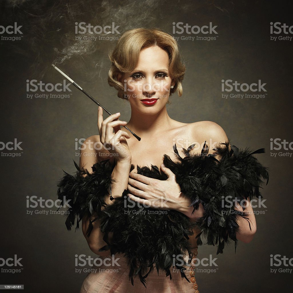 sensual woman smoking - vintage style royalty-free stock photo