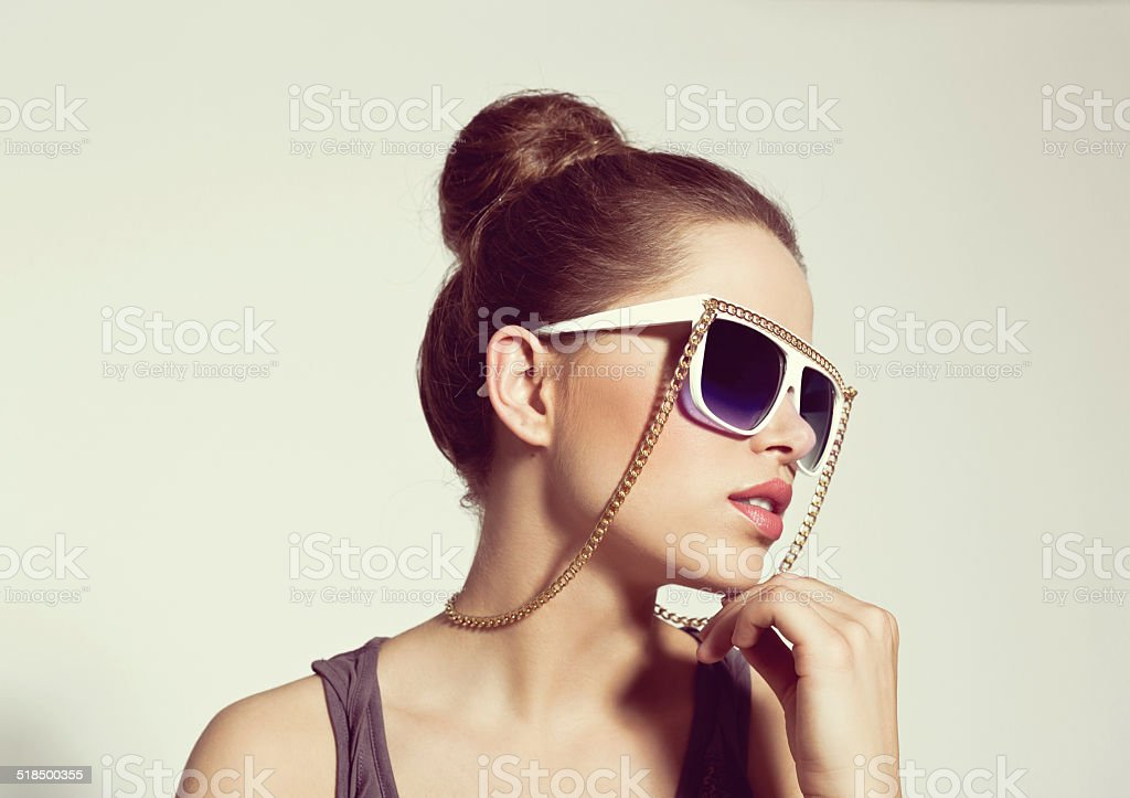 Sensual Woman, Summer Portrait Portrait of sensual young woman wearing sun glasses. 20-24 Years Stock Photo