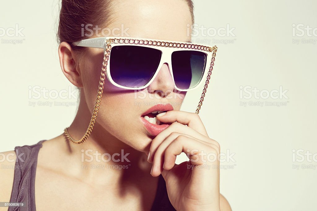 Sensual Woman, Summer Portrait Portrait of sensual young woman wearing sunglasses. 20-24 Years Stock Photo