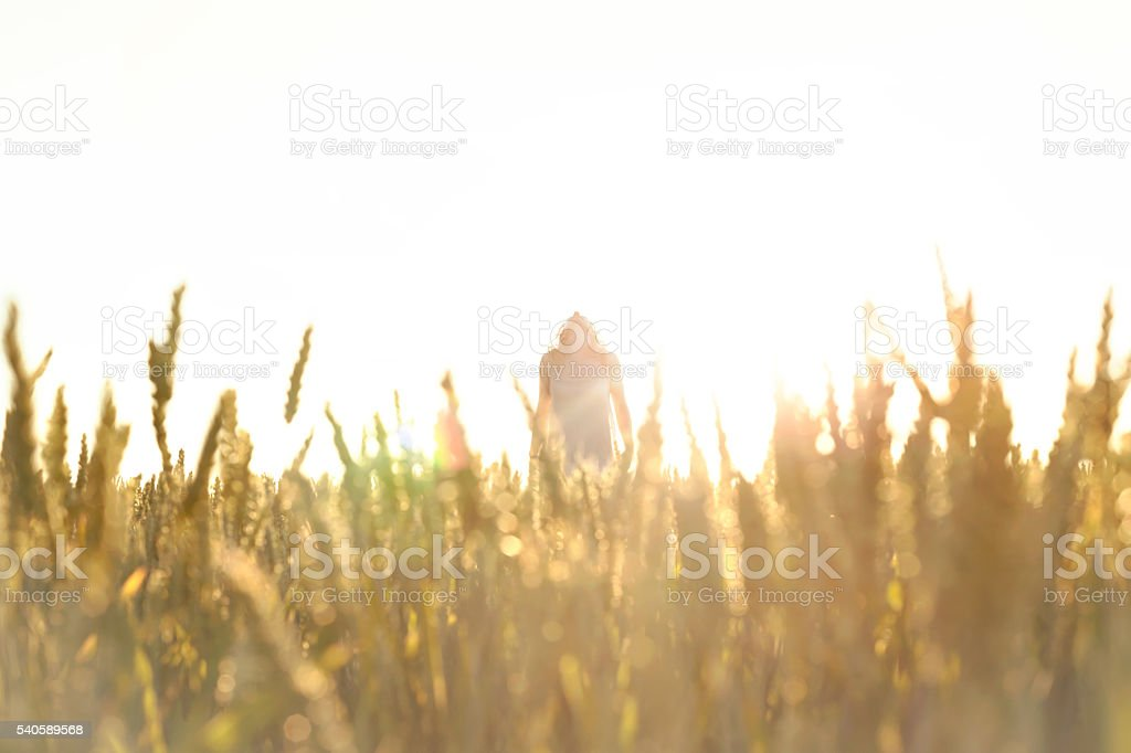 sensual woman taking a deep breath in the nature stock photo