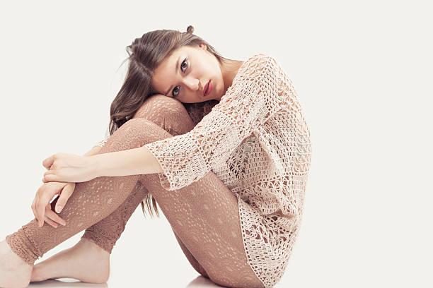 Sensual woman wearing trico dress stock photo
