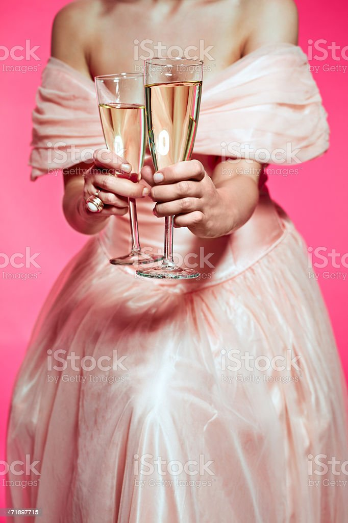 Sensual woman with champagne royalty-free stock photo