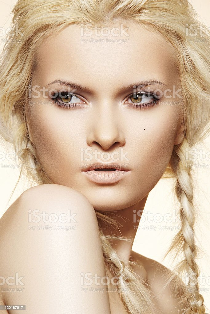 Sensual woman with fashion braids hairstyle stock photo