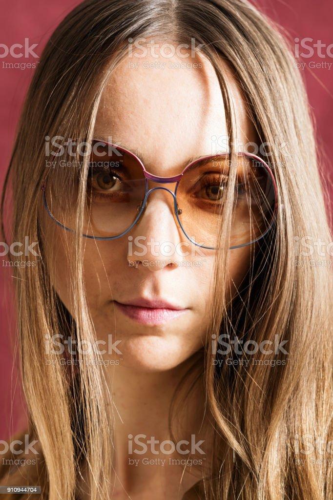 Sensual woman with sunglasses stock photo