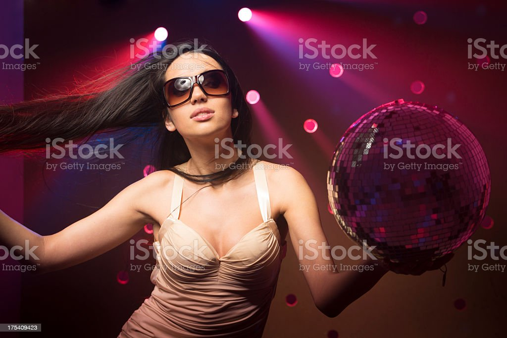 Sensual women portrait with disco ball stock photo