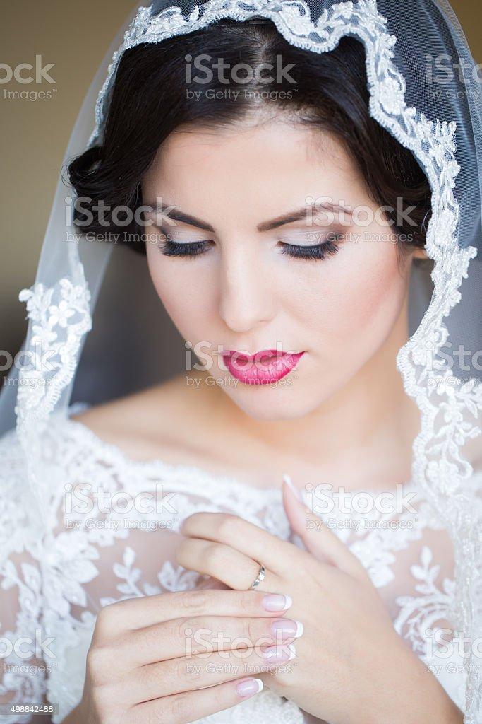 Sensual young bride stock photo