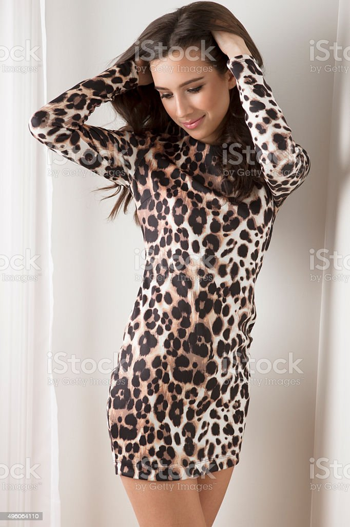 Sensual young woman posing in leopard print dress stock photo