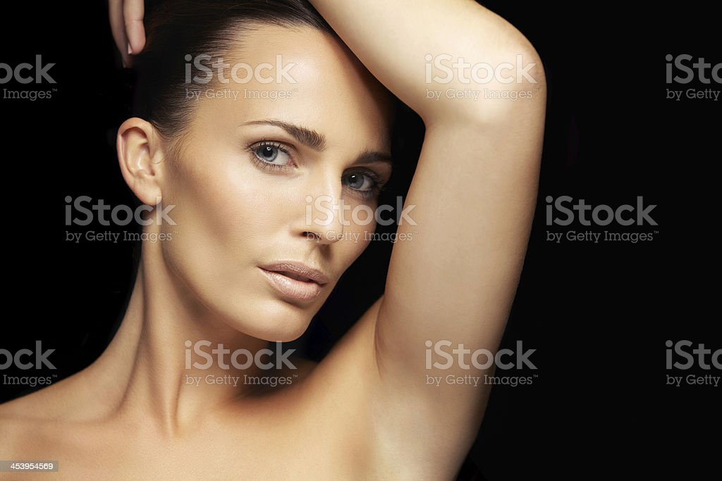 Sensual young woman with beautiful skin stock photo