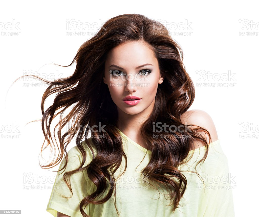 Sensuality beautiful woman with long hair stock photo