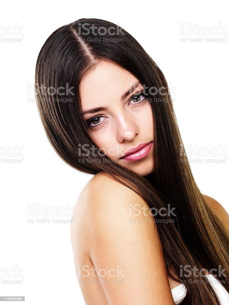 Sensuous woman with long straight hair stock photo