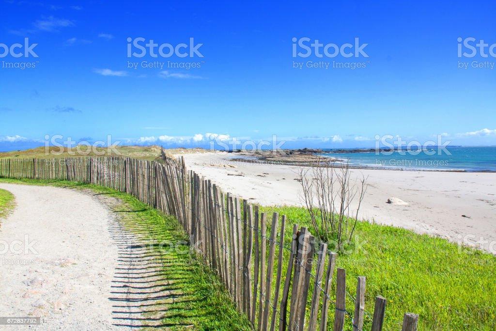 Sentier côtier. Quiberon, pointe de Conguel, Morbihan, Bretagne stock photo