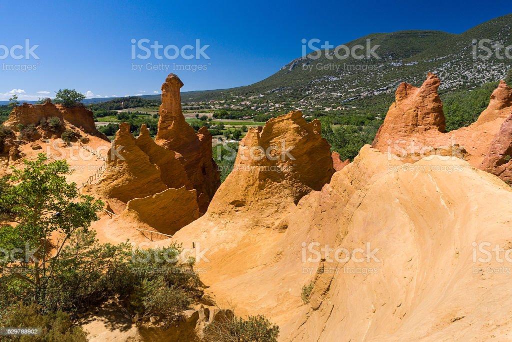 Sentiero delle Ocre Roussillon, Provenza stock photo