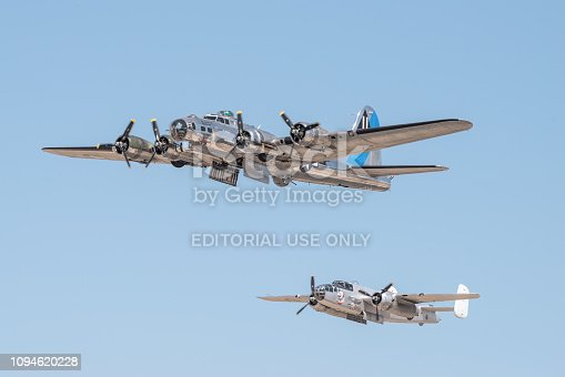 Image of the B-17 'Sentimental Journey' taken at the William J, Fox Airfield in Lancaster during the 2018 Los Angeles County Airshow.