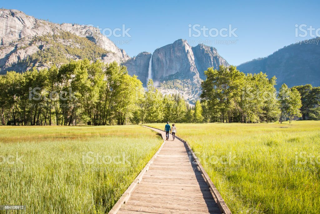 Sentinel Meadow boardwalk and view of Yosemite Falls royalty-free stock photo