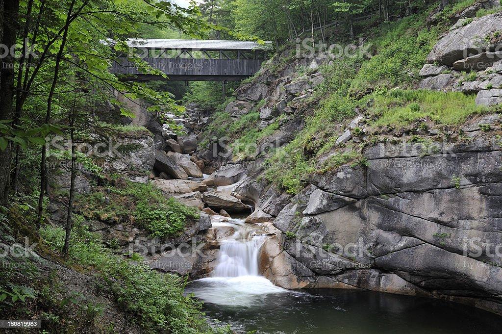 Sentinel Pine Covered Bridge, Franconia Notch State Park, New Hampshire stock photo
