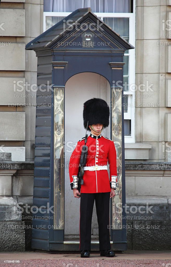 Sentry on duty at Buckingham Palace stock photo