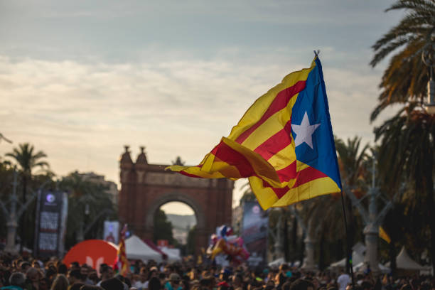 Senyera estelada flag on the national day of Catalonia celebration National day of Catalonia its celebrated annually on 11 September. Commemorates the fall of Barcelona during the War of the Spanish Succession in 1714. catalonia stock pictures, royalty-free photos & images
